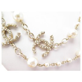 Chanel-NEW CHANEL NECKLACE CC LOGO PEARLS128CM METAL GOLD NEW NECKLACE-Golden