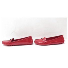 Louis Vuitton-NEW LOUIS VUITTON SHOES 34.5 35 RED PATENT LEATHER LOAFERS RED SHOES-Red