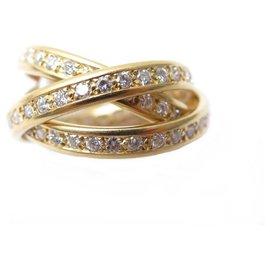 Cartier-BAGUE CARTIER TRINITY T 52 PAVAGE 96 DIAMANTS 1.5CT OR JAUNE DIAMOND RING-Doré