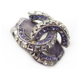 Chanel-NEW CHANEL CC LOGO RING & PURPLE STRASS SIZE 54 SILVER METAL NEW RING-Silvery