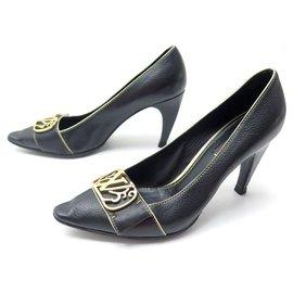Louis Vuitton-LOUIS VUITTON ERIKA PUMP PUMPS SHOES 38 BLACK SEED LEATHER SHOES-Black