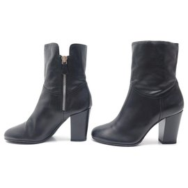 Chanel-CHANEL SHOES FILLED BOOTS 40 40.5 BLACK LEATHER CC LOGO BOOTS SHOES-Black