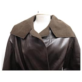 Chanel-LONG CHANEL P COAT13728 T38 M LEATHER AND CASHMERE WITH BELT COAT BELT-Brown