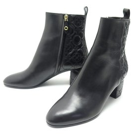 Louis Vuitton-NEW LOUIS VUITTON UPSTAGE ANKLE BOOTS 40 LEATHER ANKLE BOOTS-Black