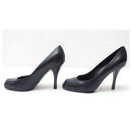 Louis Vuitton-NEW LOUIS VUITTON SPLENDID PUMP PUMPS 36 BLACK LEATHER SHOES-Black