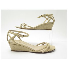Chanel-CHANEL SHOES SANDALS WEDGE WEDGES PADDED 38 PATENT LEATHER SHOES-Beige