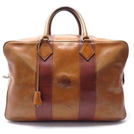 Hermès-VINTAGE HERMES VICTORIA HAND TRAVEL BAG 40CM LEATHER WEEKEND BOX SUITCASE-Brown