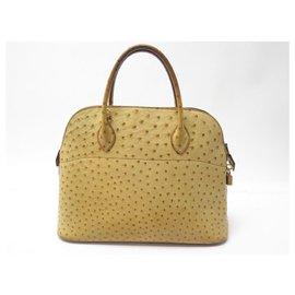 Hermès-HERMES BOLIDE HANDBAG 35 CM IN OSTRICH BEIGE LEATHER HAND BAG PURSE-Beige