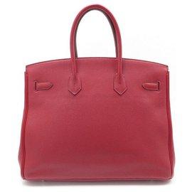 Hermès-SAC A MAIN HERMES BIRKIN 35 CUIR TOGO ROUGE GARANCE & PALLADIE BOITE HAND BAG-Rouge