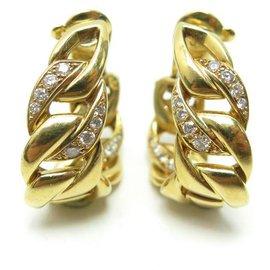 Cartier-BOUCLES D'OREILLES CARTIER BERGAME OR JAUNE 18K & DIAMANTS + ECRIN GOLD EARRINGS-Doré