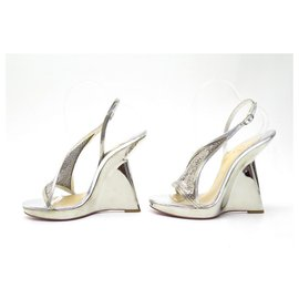 Christian Louboutin-CHRISTIAN LOUBOUTIN SHOES 40 SILVER LEATHER WEDGE PUMPS-Silvery