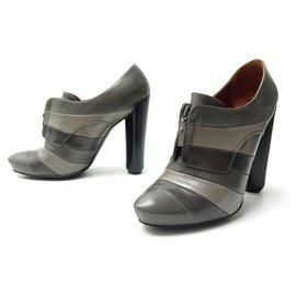 Louis Vuitton-LOUIS VUITTON SHOES DELFT AGNES HIGH HEEL BOOTS 38.5 It 37 FR LEATHER-Dark grey