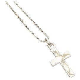 Dior-Collier à pendentif croix en argent Dior-Argenté