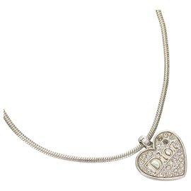 Dior-Collier à pendentif logo coeur argent Dior-Argenté