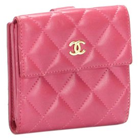 Chanel-Chanel Pink CC Matelasse Lambskin Leather Small Wallet-Pink