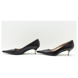 Chanel-CHANEL SHOES POINTED TOE PUMPS 38.5 BLACK LEATHER + PUMP SHOES BOX-Black