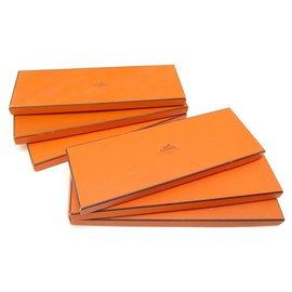 Hermès-LOT 6 BOITES A CRAVATE HERMES CARTON ORANGE RECTANGULAIRE TIE BOX SET DECORATION-Orange