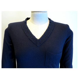 Chanel-CHANEL CAMELIA P SWEATER38923 taille 34 S NAVY BLUE CASHMERE BLUE SWEATER-Navy blue
