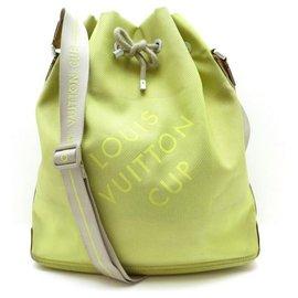 Louis Vuitton-LOUIS VUITTON DAMIER GEANT AMERICA CUP BUCKET BUCKET LIME HANDBAG-Green