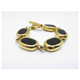 Chanel-RARE VINTAGE CHANEL BRACELET BLACK GOLD METAL STONES 19 CM CIRCA 1960 JEWEL-Golden