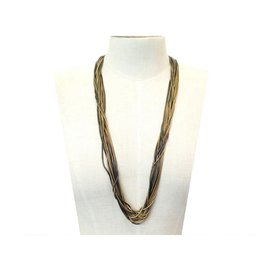Chanel-NINE CHANEL NECKLACE MULTI-ROW NECKLACE IN GOLD & BLACK METAL NECKLACE NEW-Golden