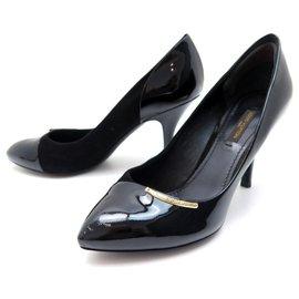 Louis Vuitton-NEW LOUIS VUITTON SHOES 35.5 It 36 FR BLACK SUEDE PATENT LEATHER PUMPS-Black