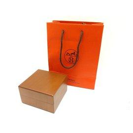 Hermès-HERMES WATCH BOX IN WOOD CAPE COD ARCEAU HOUR H + WOOD WATCH BOX BAG-Brown