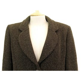 Chanel-CHANEL JACKET BUTTONS LOGO CC P09217 taille 38 M IN GREEN TWEED GREEN JACKET-Green