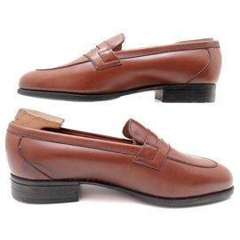 JM Weston-JM WESTON SHOES 176 Church´s Loafers 3.5D 36.5 37 FINE BROWN LEATHER STICKERS-Brown