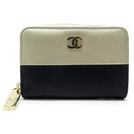 Chanel-NEW CHANEL WALLET ZIPPED COIN WALLET CC LOGO LEATHER CAVIAR GOLD CANVAS-Golden