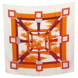 Hermès-HERMES PERSPECTIVE SCARF BY A.M CASSANDRE IN ORANGE SILK SCARF-Orange