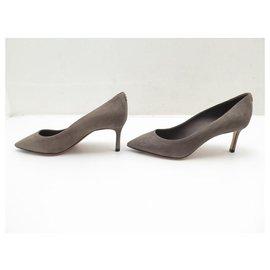 Louis Vuitton-LOUIS VUITTON RENDEZ VOUS PUMPS SHOES 36 GRAY SUEDE GRAY PUMP SHOES-Grey
