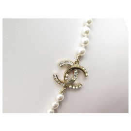 Chanel-NEW CHANEL PEARLS LOGO CC NECKLACE 57 65 CM METAL GOLD NEW PEARLS NECKLACE NEW-White
