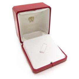 Cartier-VINTAGE BOITE CARTIER POUR BROCHE BIJOUX EN CUIR ROUGE LEATHER BROOCH BOX JEWEL-Rouge