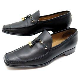 Louis Vuitton-LOUIS VUITTON SHOES 37 LOAFERS SHOES BLACK LEATHER LOAFERS-Black