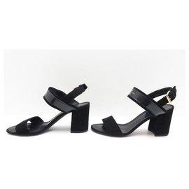 Louis Vuitton-NEW LOUIS VUITTON SANDALS WITH HEELS 36 BLACK SUEDE SANDAL SHOES-Black