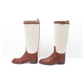 Louis Vuitton-LOUIS VUITTON SHOES 7.5 41.5 BEIGE CANVAS & BROWN LEATHER BOOTS-Brown