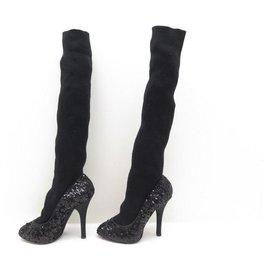 Dolce & Gabbana-NEW DOLCE & GABBANA SHOES PUMPS SOCKS 36 It 37 FR SEQUINS-Black