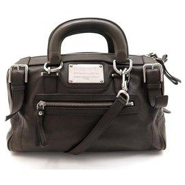 Dolce & Gabbana-DOLCE & GABBANA MISS EASY WAY BOSTON DARK KHAKI LEATHER HAND BAG-Khaki