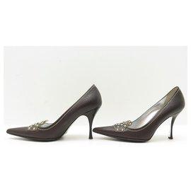 Dolce & Gabbana-DOLCE & GABBANA SHOES PUMPS 36.5 It 37.5 FR LEATHER SHOES-Brown