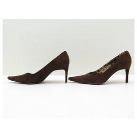 Dolce & Gabbana-DOLCE & GABBANA SHOES PUMPS 37.5 It  38.5 FR SUEDE BROWN SHOES-Brown