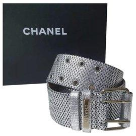 Chanel-CHANEL Silver Leather  Belt Sz.80-Silvery