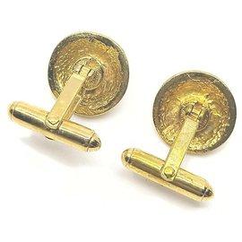 Chanel-Gold CC Logo Cufflinks Cuff Links-Other