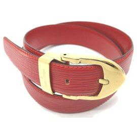 Louis Vuitton-Red Epi Lather Ceinture Belt with Gold Buckle-Other
