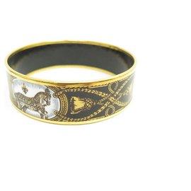 Hermès-HERMES LARGE BRACELET PRINTED HORSE LARGE APPARAT GOLD-PLATED ENAMEL + BOX-Golden
