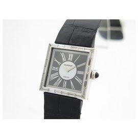 Chanel-VINTAGE CHANEL MADEMOISELLE WHITE GOLD WATCH 18K DIAMONDS CROCO QUARTZ WATCH-Silvery
