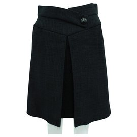 Chanel-Classic Black Tweed Skirt with Big Button-Black