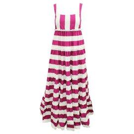 Dolce & Gabbana-Ibiza Te Quiera Fuchsia Striped Maxi Dress-Pink