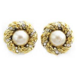 Chanel-VINTAGE CHANEL PERLES & STRASS EARRINGS 1984 BY CASTELLANE EARRINGS-Golden