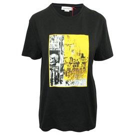 Alexander Mcqueen-Black T-Shirt with Yellow Print-Black